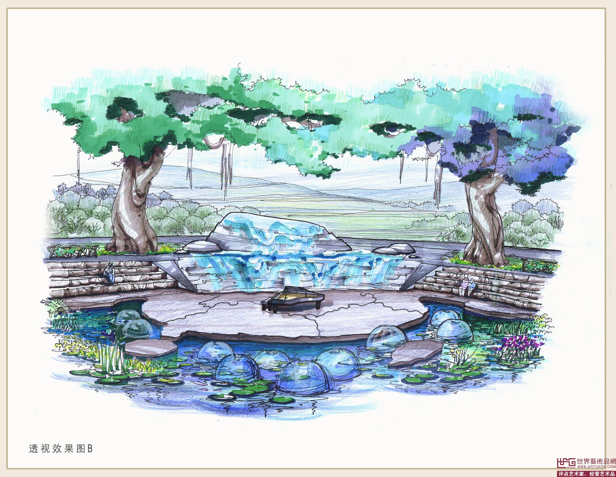 王悦玲-同根园手绘效果图2-淘宝-名人字画-中国书画